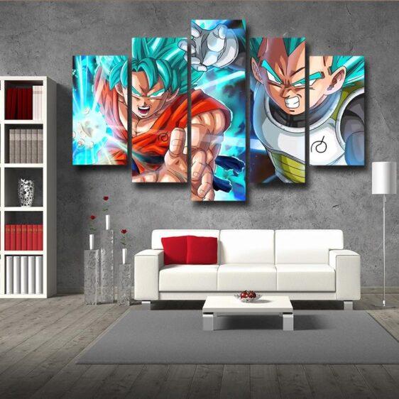 Resurrection F Goku Vegeta Ki Blast Fighting 5pc Decor Wall Art