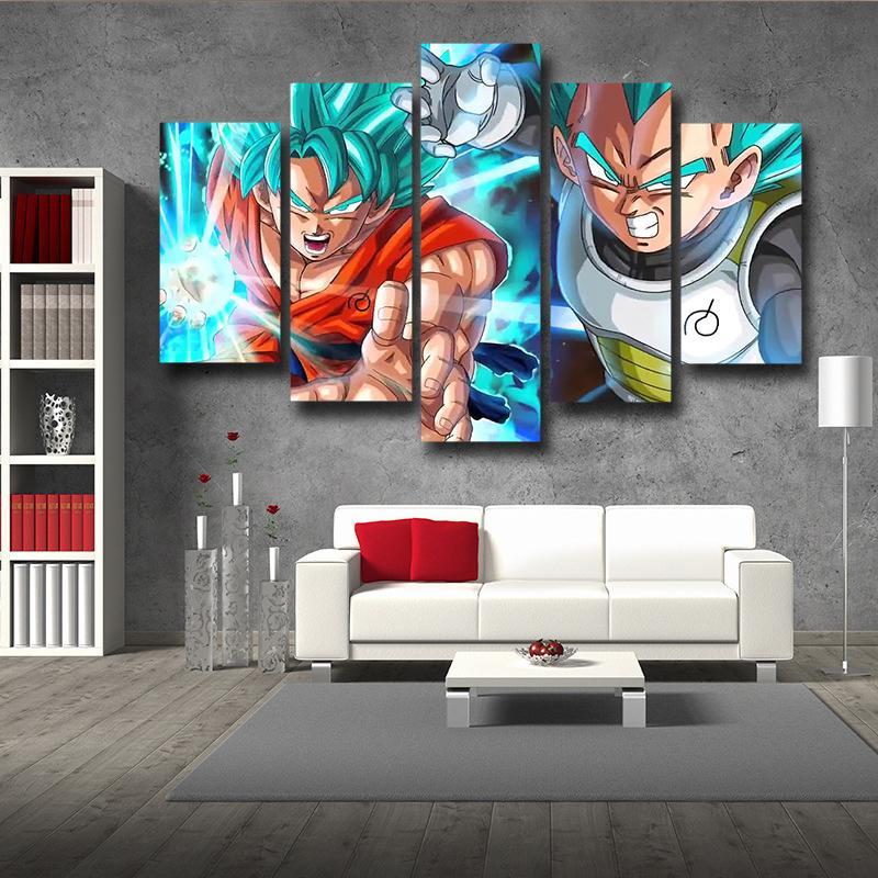 Resurrection Goku Vegeta Ki Blast Fighting 5 pieces Canvas Print