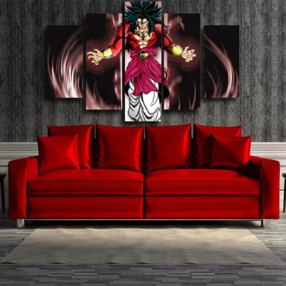Dragon Ball Broly SSJ4 Fan Art 5pc Wall Art Canvas Prints