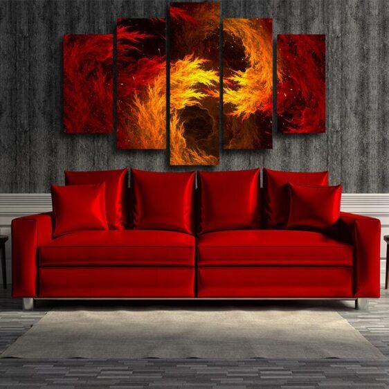 DBZ Dope Super Saiyan Orange Flame Aura 5pcs Canvas Print