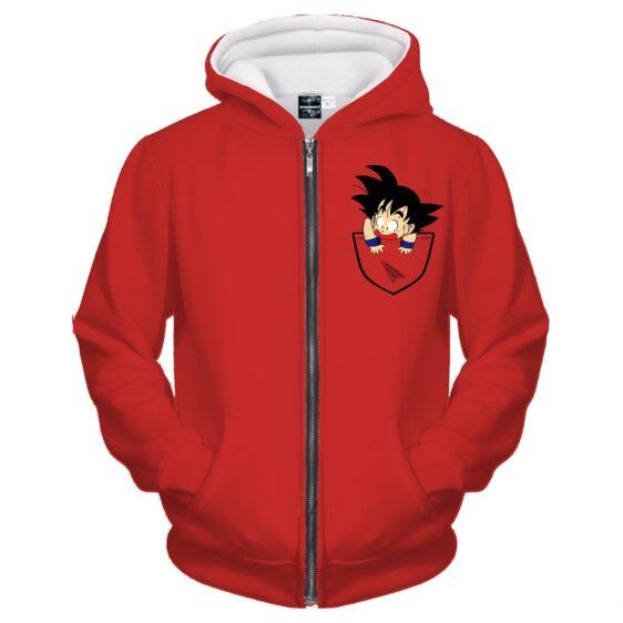 Dragon Ball Cute Goku Kid Pocket Simple Design Zipper Hoodie