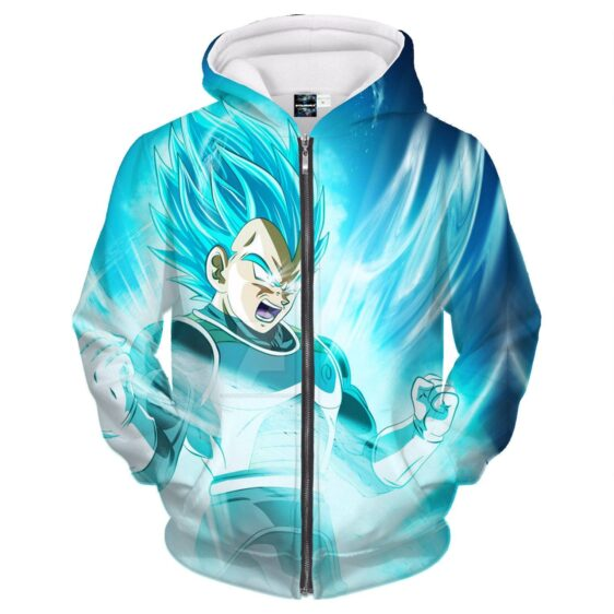 DBZ Vegeta SSGSS Saiyan God Blue Powerful Aura 3D Zipper Hoodie
