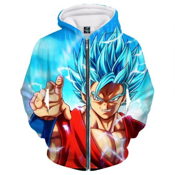Angry Goku Super Saiyan God Blue Power Thunder Attack Zipper Hoodie