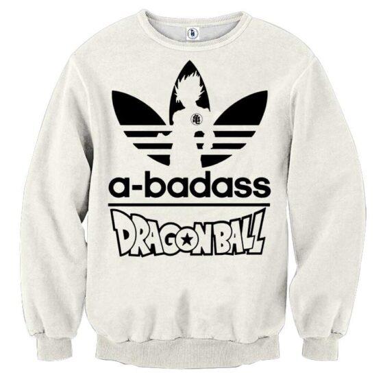 A-Badass Adidas Parody Dragon Ball Goku White Stylish Sweatshirt