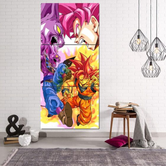 DBZ Goku Super Saiyan Rose VS God Beerus 3Pc Canvas Print