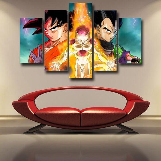 DBZ Golden Frieza Fight Goku Vegeta 5pc Wall Art Canvas Decor