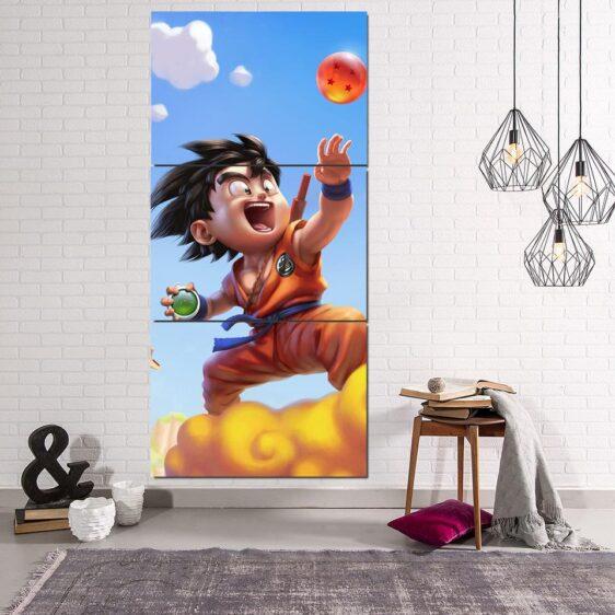 Dragon Ball Goku Kid Nimbus Cute Dope 3Pc Canvas Print