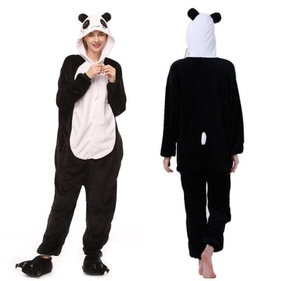 Adorable Panda Black & White Hooded Kigurumi Pajama