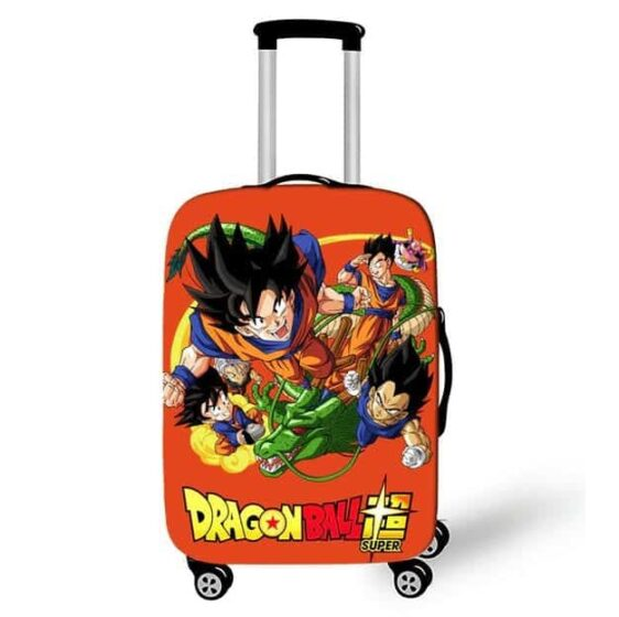 DBS Goku Vegeta Gohan Shenron Design Orange Luggage Cover
