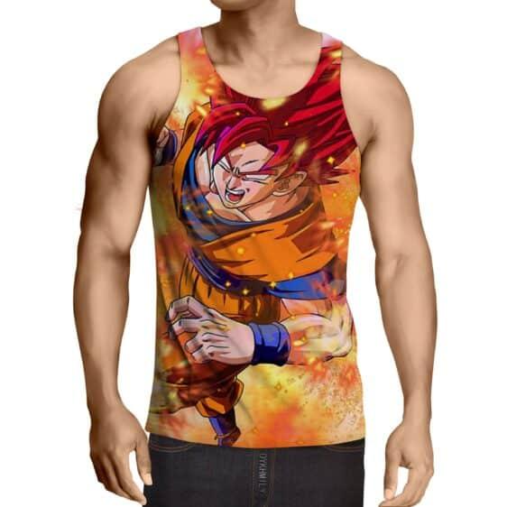Dragon Ball Goku Super Saiyan Rose Fighting Design Tank Top