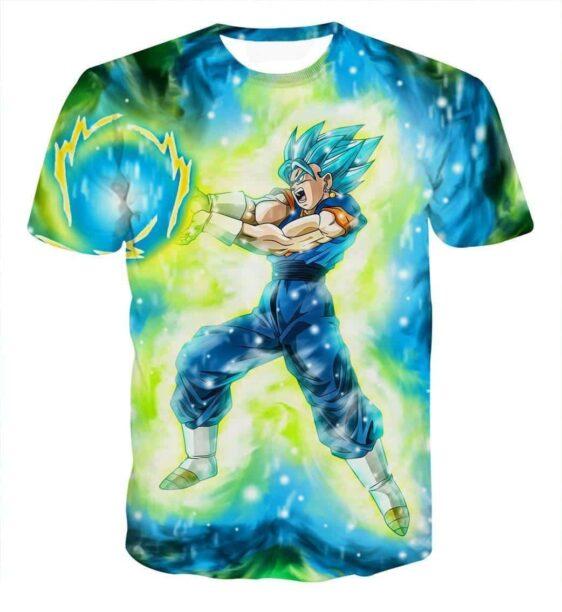 DBZ Vegito Super Saiyan Blue SSGSS Kamehameha Power Attack T-shirt