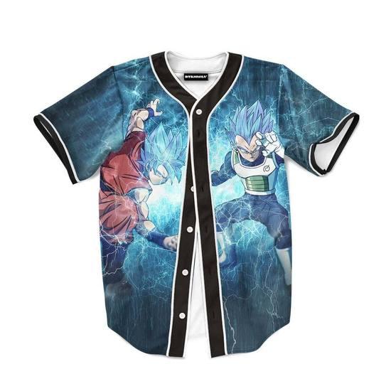 Goku Vegeta SSGSS Lightning Pattern Full Print Baseball Jersey