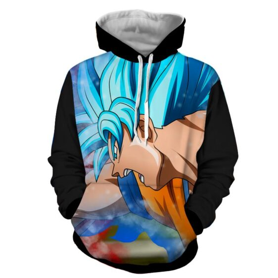 DBZ Goku Super Saiyan God Blue Half Face Powerful Cool Hoodie