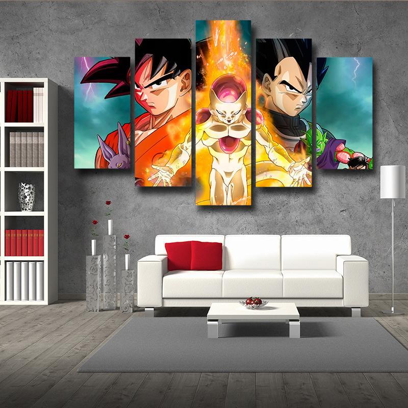 Dragon Ball Golden Frieza Fight Goku Vegeta 5 Panel Canvas Wall Art