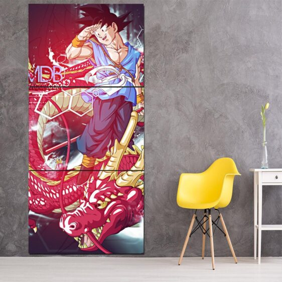 Dragon Ball Goku Red Shenron Fan Art Anime 3Pc Canvas Print