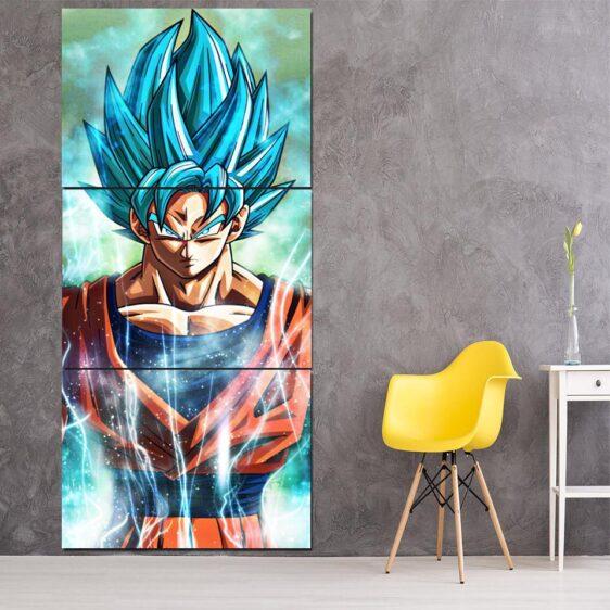 Dragon Ball Goku Super Saiyan God Blue Cool 3Pc Canvas Print