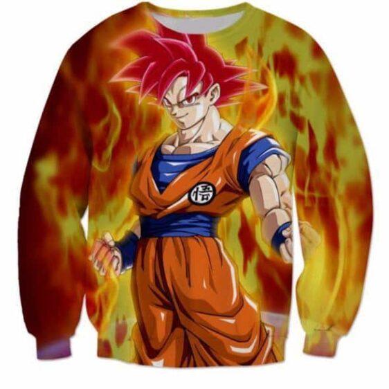 3D Printed Dragon Ball Goku Fire Flame Sweatshirt - Saiyan Stuff