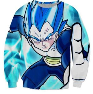 3D Printed Vegeta From Prince to God Cool Blue Sweatshirt - Saiyan Stuff