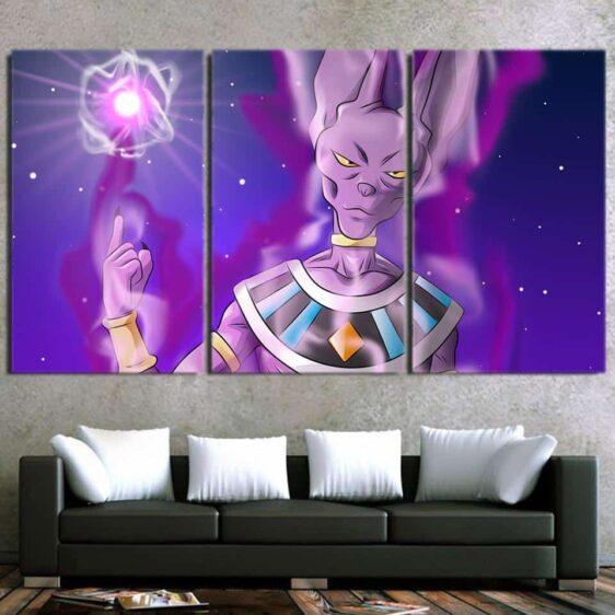 DBZ Beerus Destruction God Portrait Ki Blast Cool 3pc Wall Art