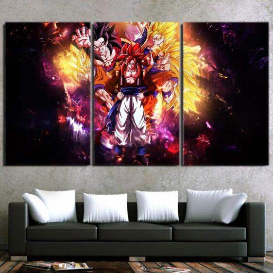 DBZ Gogeta Goku Vegata Super Saiyan 4 Powerful 3Pc Wall Art