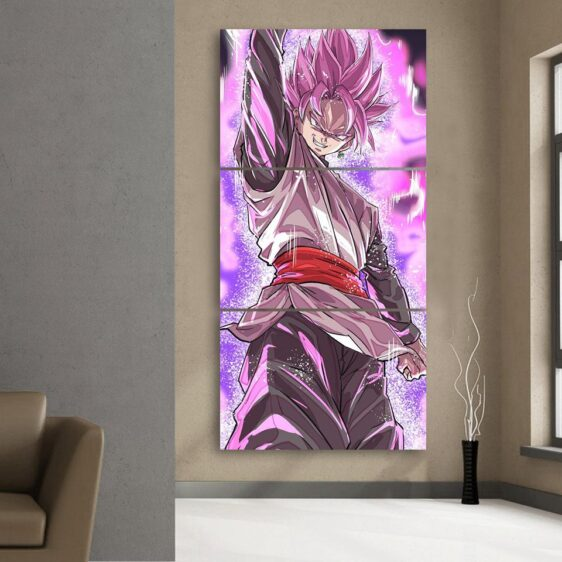 DBZ Goku Black Super Saiyan Rose Villain 3Pc Canvas Print