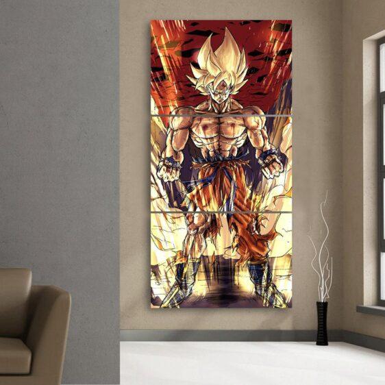 DBZ Goku Fan Art Style Super Saiyan Fight 3Pc Canvas