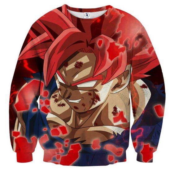 DBZ Son Goku Super Saiyan Red Hair God Dope Style Sweatshirt