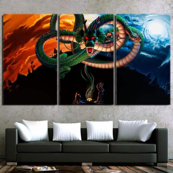 Dragon Ball Powerful God Shenron Goku Bulma Cool 3pc Wall Art