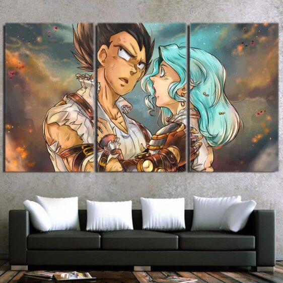 Dragon Ball Vegeta Bulma Lovely Couple Fan Art 3pc Wall Art Decor