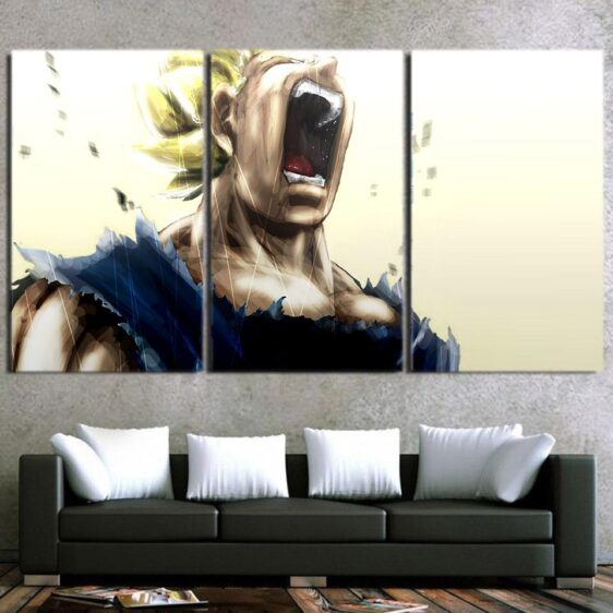 Pissed Off Angry Super Saiyan Vegeta Design 3Pc Decor Canvas