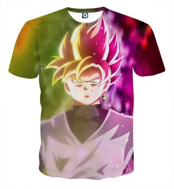 Dragon Ball Goku God Half Rose & Golden Fan Art Cool T-shirt