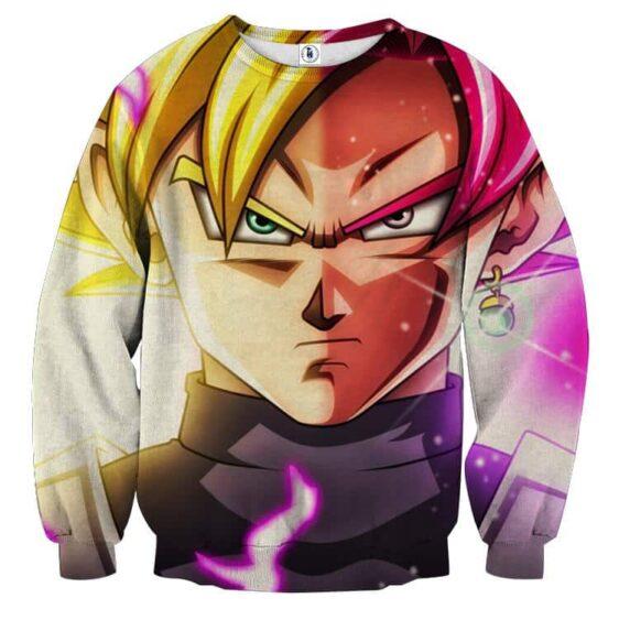 DBZ Goku God Half Rose & Golden Portrait Dope Design Sweatshirt