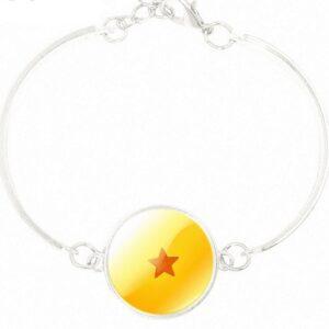 Dragon Ball Star Design Silver Jewelry Bangle Bracelet