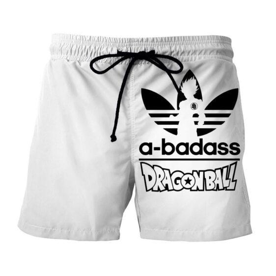 A-Badass Adidas Parody Dragon Ball Goku White Stylish Shorts