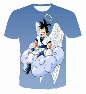 Angel Goku Sitting on the Cloud Blue 3D T-Shirt - Saiyan Stuff