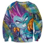 Angry Gotenks Fusion Dance Graffity Art 3D Crewneck Sweatshirt - Saiyan Stuff