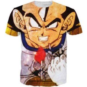 Angry Prince Vegeta Painting Art Style Full Print T-Shirt - Saiyan Stuff