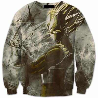 Angry Super Saiyan Vegeta Vintage 3D Stylish Crewneck Sweatshirt - Saiyan Stuff