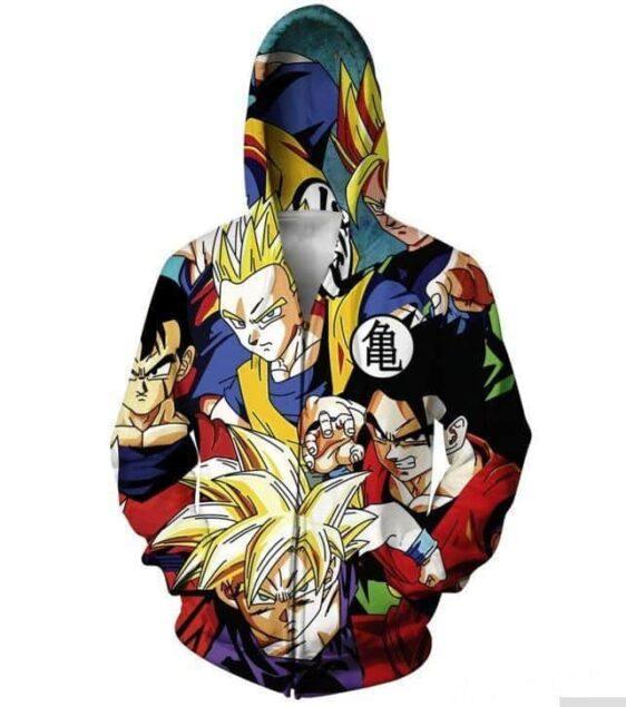 Classic Dragon Ball Z Gohan Stylish Cool 3D Zip Up Hoodie - Saiyan Stuff