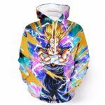 Confident Goku Power Aura Thunder Earing Super Saiyan Stretching Design Hoodie - Saiyan Stuff