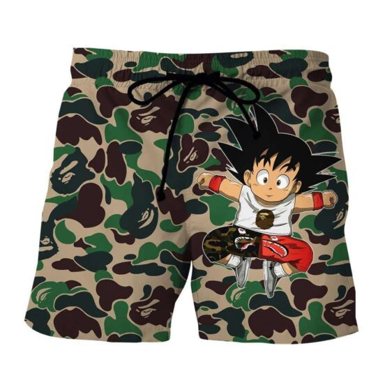 Cute Jumping Kid Goku Cameo Camouflage Streetwear Shorts