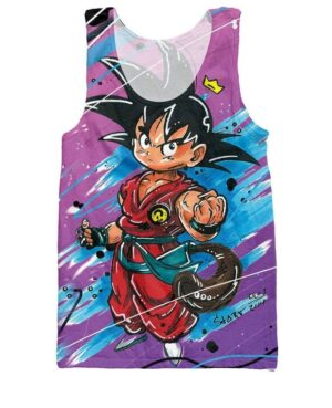 Cute Kid Goku Graffiti Painting 3D Dragon Ball Tank Top - Saiyan Stuff