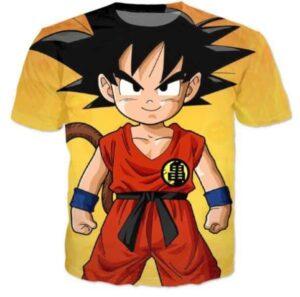 Cute Young Kid Goku Yellow Dragon Ball 3D T-Shirt - Saiyan Stuff