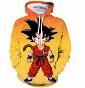 Cute Young Kid Goku Yellow Orange Dragon Ball 3D Hoodie - Saiyan Stuff