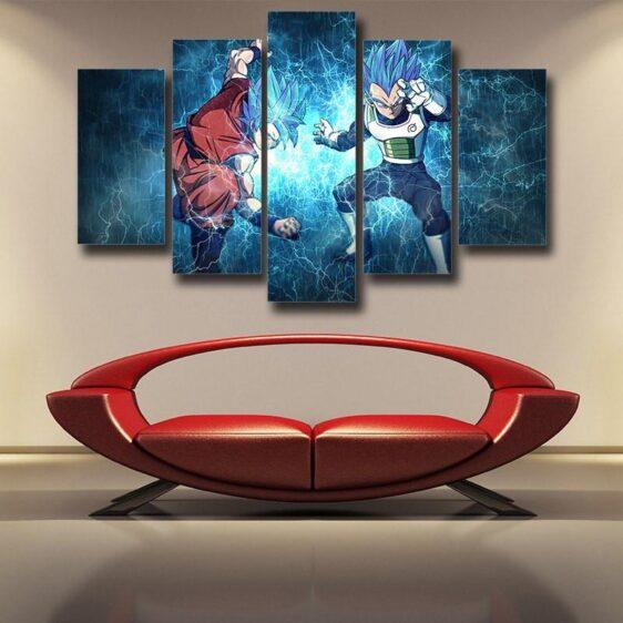 DBS Goku Vegeta Super Saiyan Thunder Power 5pc Canvas Prints Wall Art