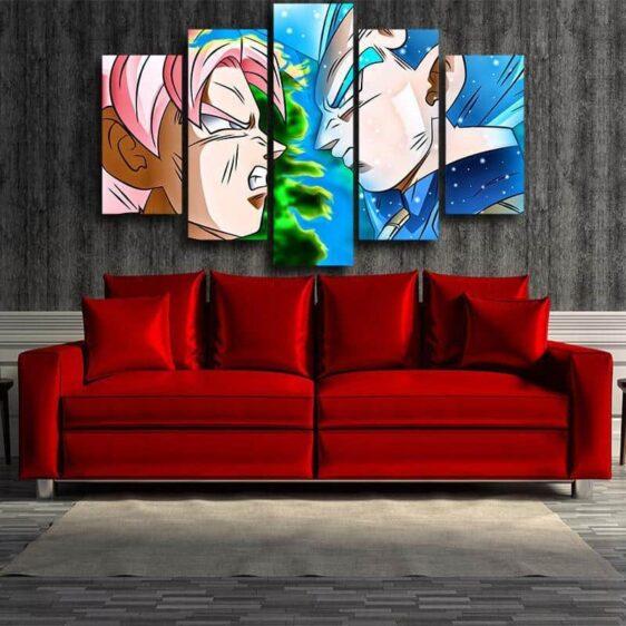 DBS Vegeta SSGSS Fight Goku Black Super Saiyan Rose 5pc Canvas Prints