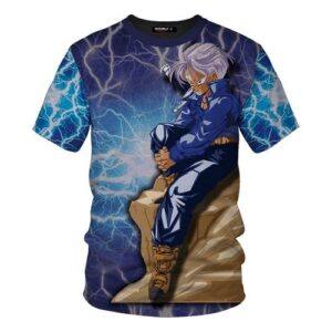 Dragon Ball Z The Legendary Trunks On A Rock Blue T-Shirt