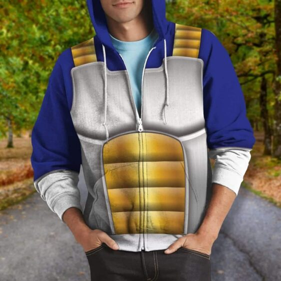 Dragon Ball Z Vegeta Inspired Suit Cosplay Zip Up Hoodie