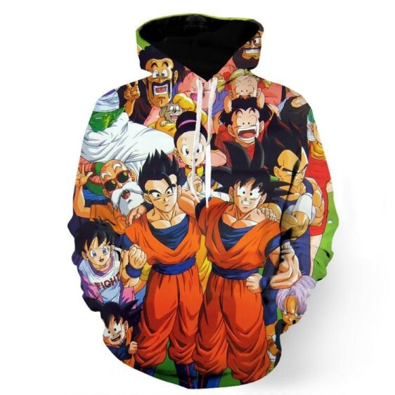 DBZ All Dragon Ball Character Together Happy Friends Manga Design Hoodie