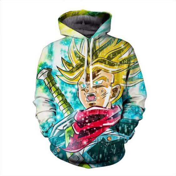 DBZ Angry Goku Power Aura Scream Color Trendy Pocket Hoodie - Saiyan Stuff